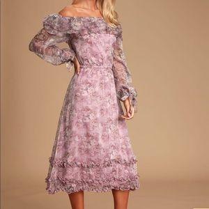 Lulu's Fairytale Fleur Lavender Floral OTS Dress